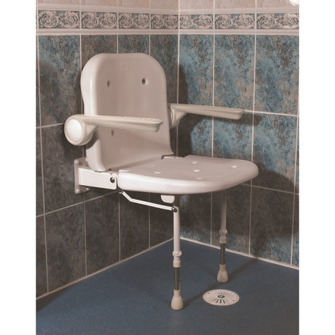AKW 4000 Series Standard Shower Seat, White Unpadded Seat & Back, Grey padded Arms