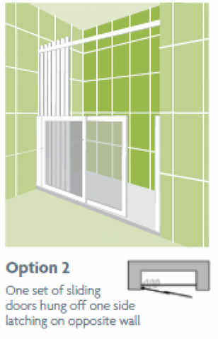 Impey Option2 Sliding Door Set L/H Wall Hung 1500
