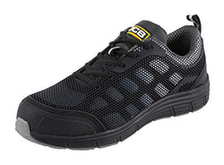 JCB Workwear Cagelow Trainer Shoe, 12 Size, Grey Mesh / Black