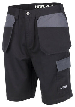JCB Workwear Men's Trade Plus Black/Grey Shorts D+AM Holster Pockets Size 36