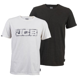 JCB Workwear Twin Pack Short Sleeve T-shirts Marl Grey & White Logo XXL