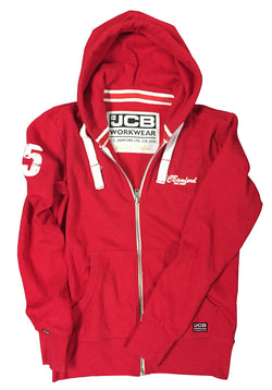 JCB Workwear Limited Edition Red Full Zip Hooded Top Hoody Hoodie Printed Logo Size M