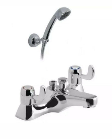 VADO 2 HOLE BATH LEVER STYLE SHOWER MIXER WITH SHOWER KIT art AST-330+KIT-C/P