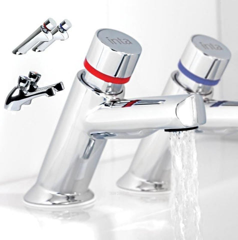 INTA Non Concussive Basin Taps - Self Closing Taps Pair