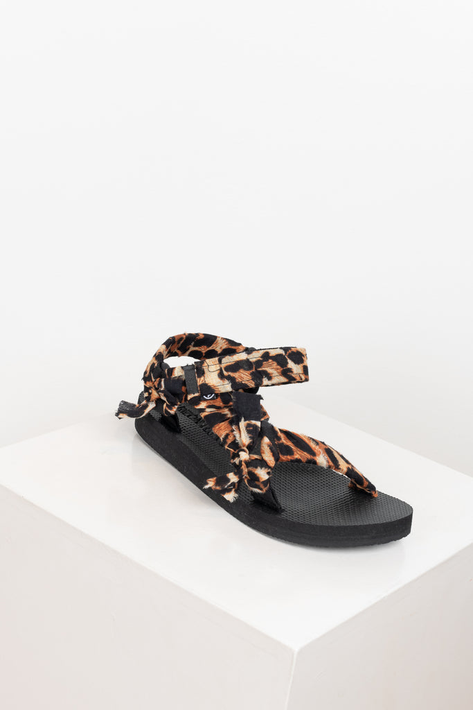 The Trekky Sandals by Arizona Love are bandana strap sandals with a velcro closure