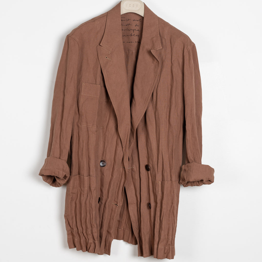 Jay Jacket by Acne Studios in Brown Mink Crinkled linen