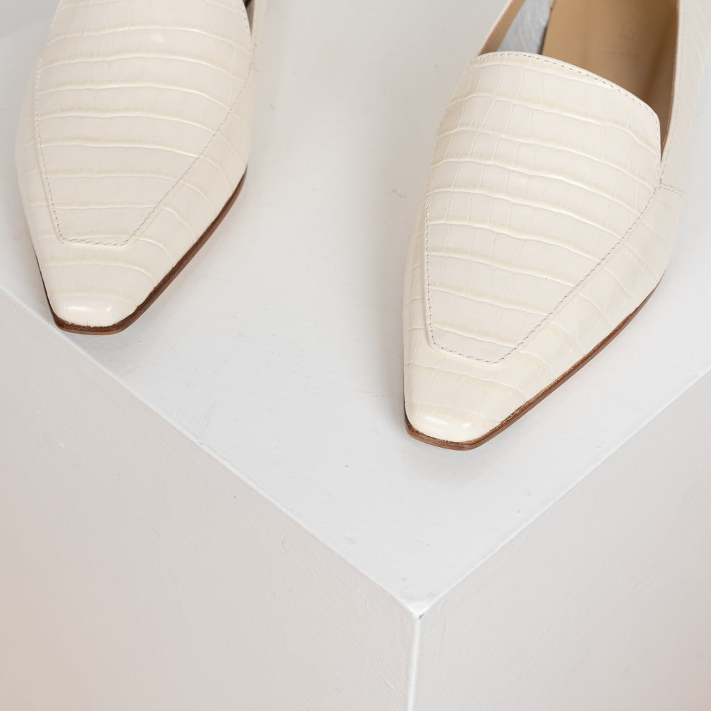 Aurora loafers by Aeyde in croc embossed white leather
