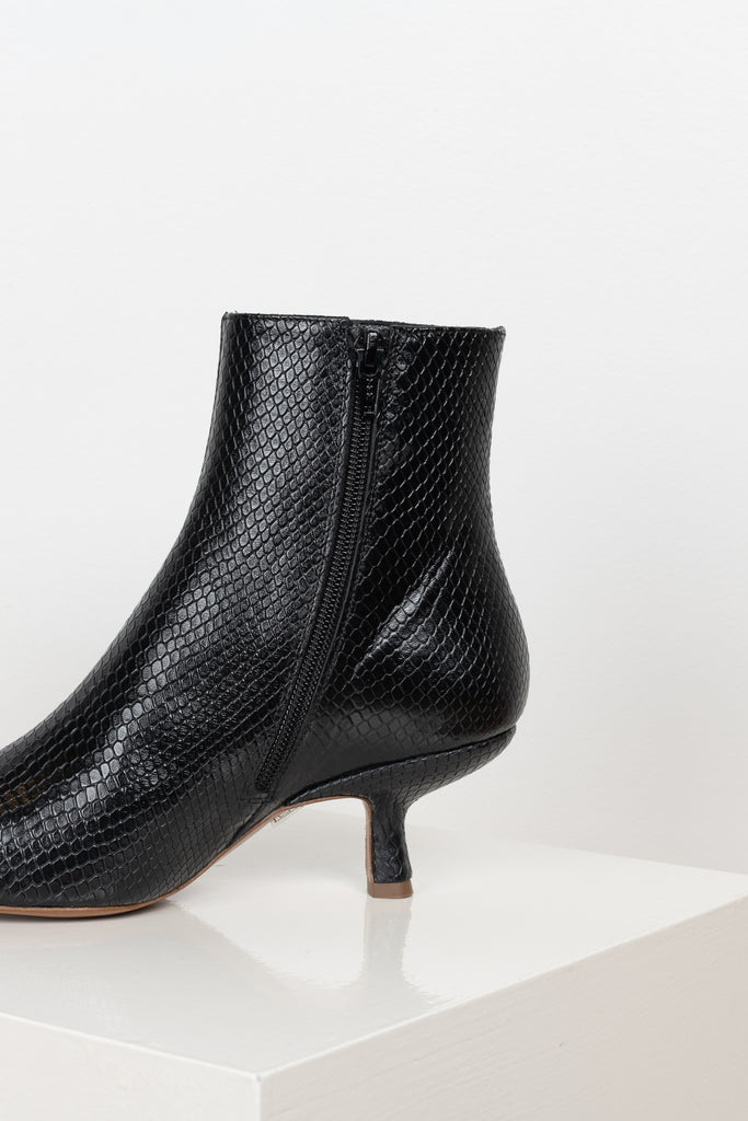 The Lange Boots by By Far in black snake print