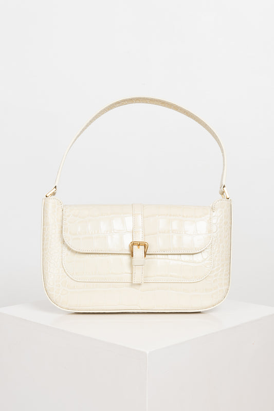 The Miranda bag by BY FAR is a structured carry-in-hand bag in Cream Croco embossed leather