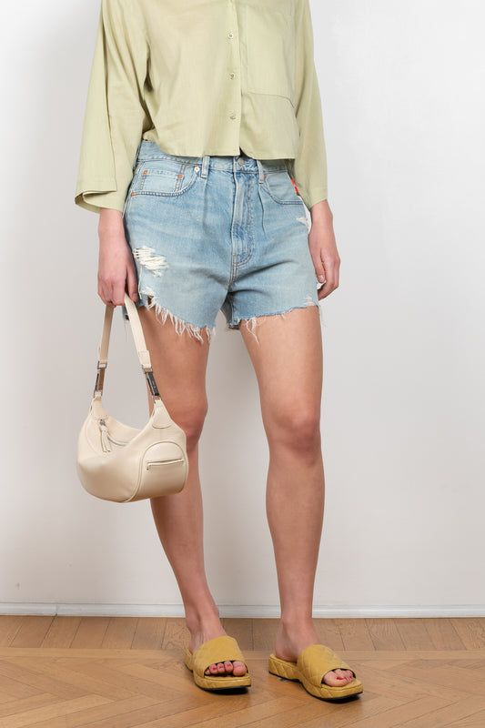 The Brooke Jeans Short by Denimist is a high waist loose fitted denim short with distressed details