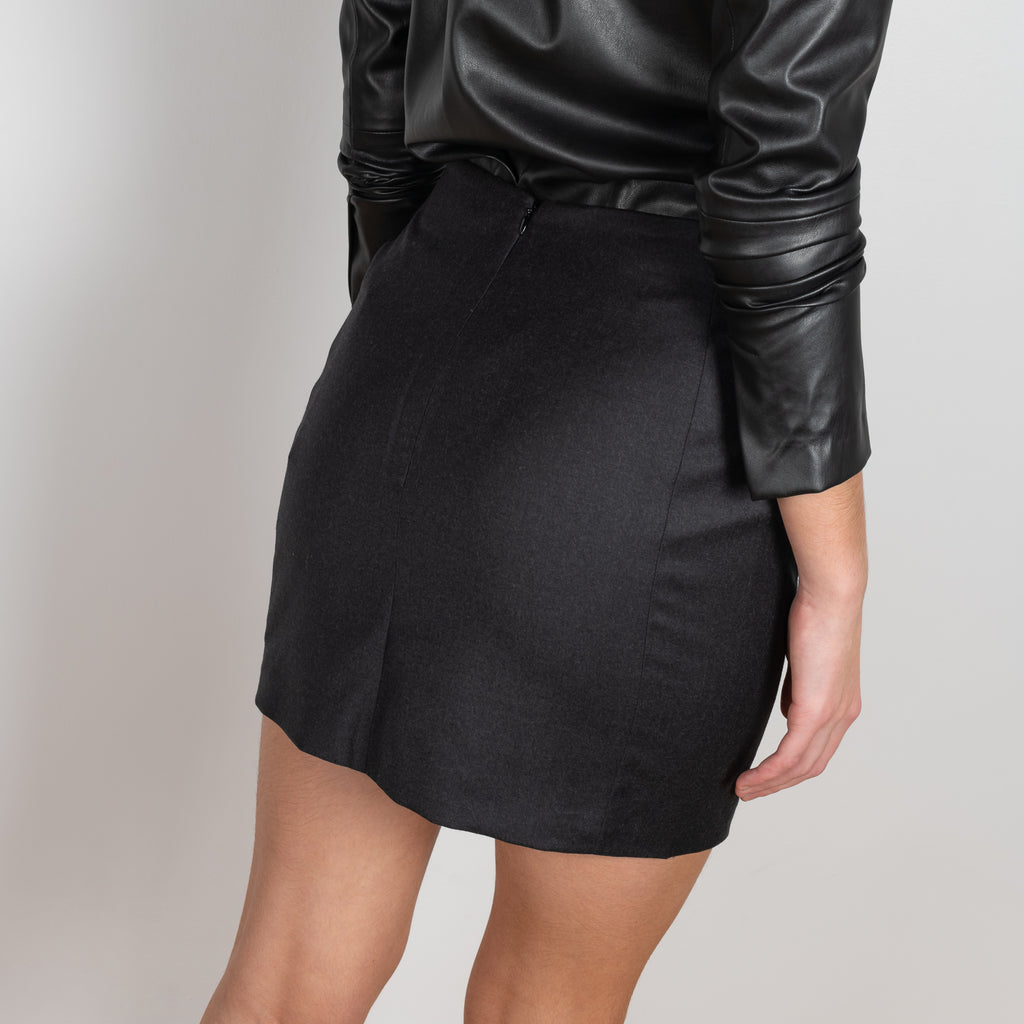 The Lapaz Skirt by Gauge81 is a high waisted mini skirt in a soft wool & cashmere blend