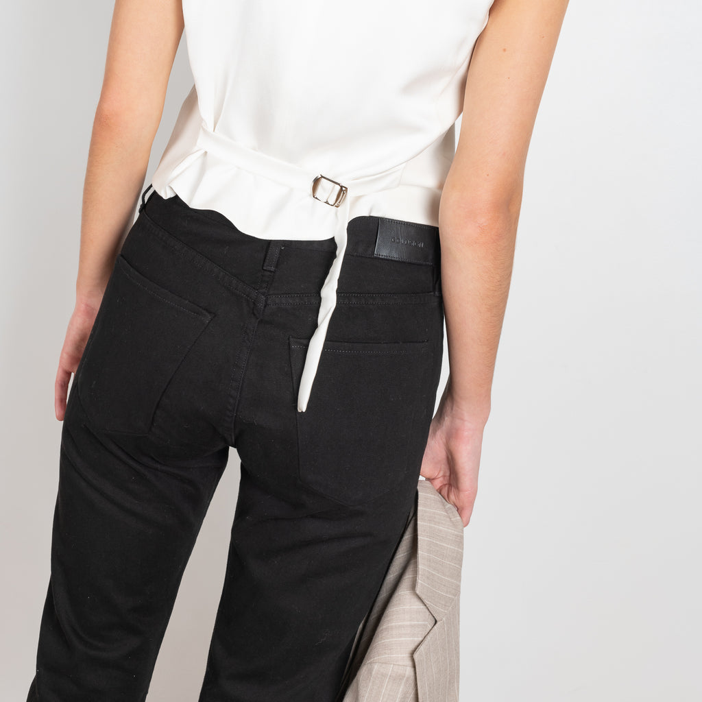 The Benefit Jeans in Black by Goldsign Denim is a high waisted straight leg jeans in a clean deep black wash