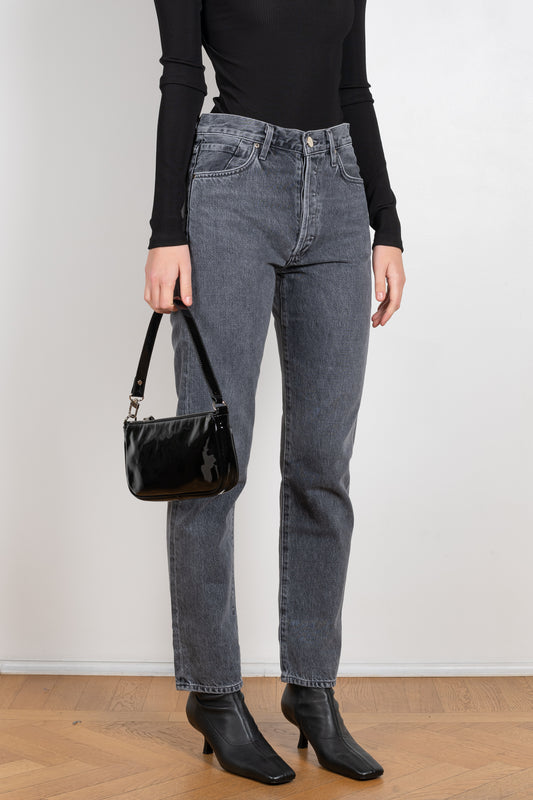 The Benefit Jeans in Farrow by Goldsign Denim is a high waisted straight leg jeans in Washed Grey