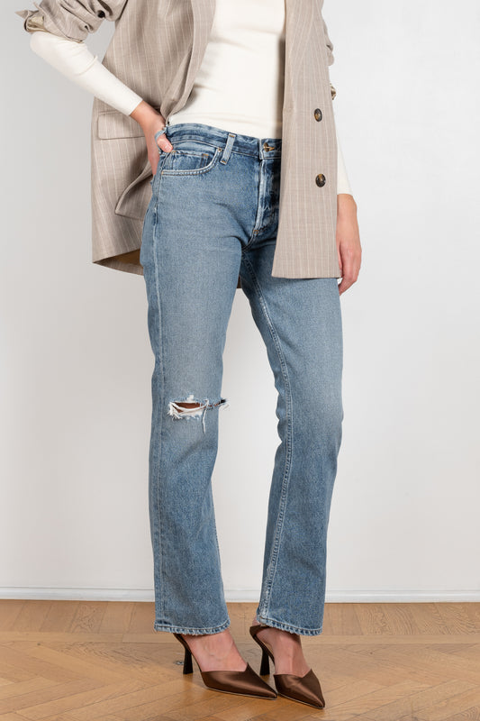 The Saunton Jeans by Goldsign is a high waisted ripped jeans with a subtle bootcut leg