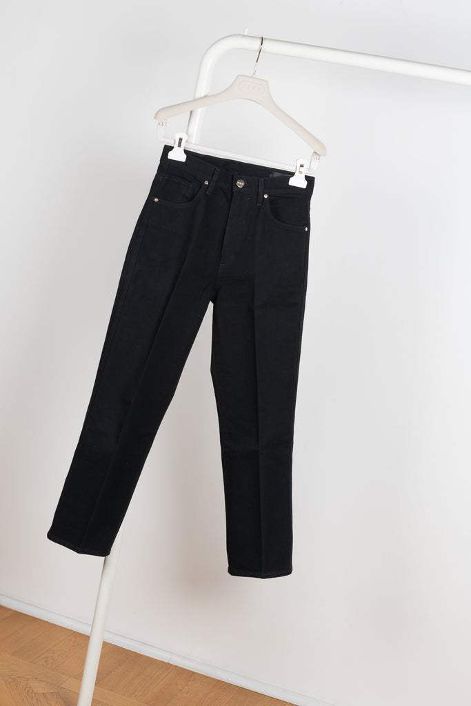 The Cropped A Jeans in Black by Goldsign Denim is a high waisted leg jeans in deep black