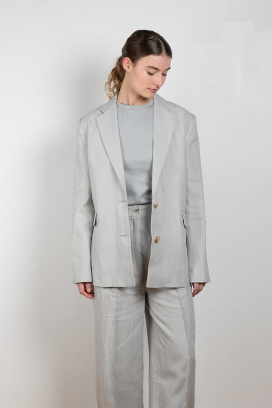 The Bambo Jacket by Loulou Studios is a straight cut single breasted blazer jacket in  a summer linen weave