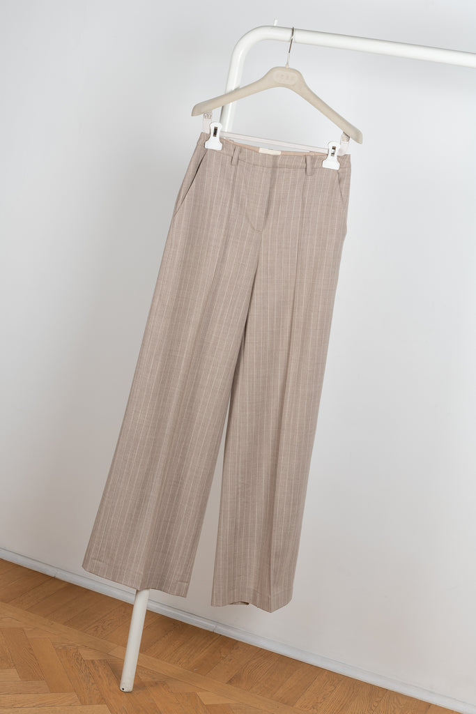 Wide leg Sulana Pants in a beige wool pinstripe by Loulou Studio