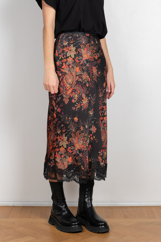 High waisted paisley print skirt by Paco Rabanne with lace details
