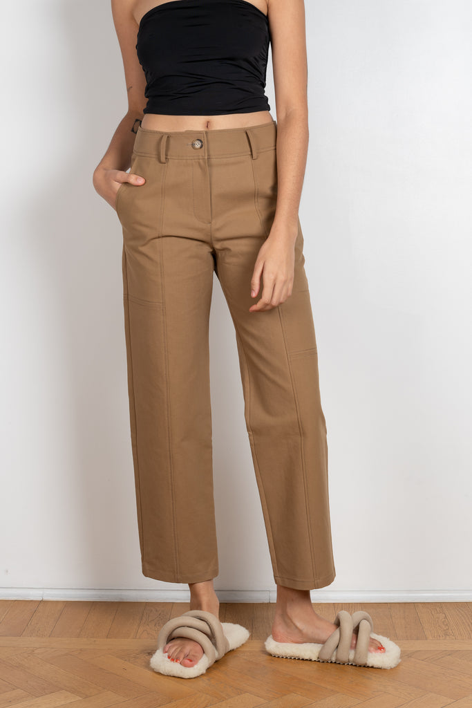 The Mavis Trouser by Rejina Pyo are high waisted straight legged cotton trousers in khaki