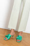 Isa Mules by Wandler in Apple Green satin with bow and kitten heels