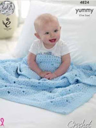 King Cole Crochet Baby Blanckets Pattern #4824