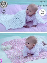 King Cole Knit Baby Blanckets Pattern #4533