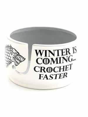 Winter is Coming Crochet Faster Ceramic Yarn Bowl - Mad Knitter's Yarn