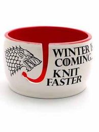 Winter is Coming Knit Faster Ceramic Yarn Bowl - Mad Knitter's Yarn