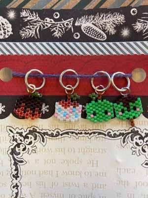 Caramel Apples Beaded Stitch Markers - Mad Knitter's Yarn