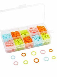 Round Plastic Stitch Markers in case 120 count - Mad Knitter's Yarn
