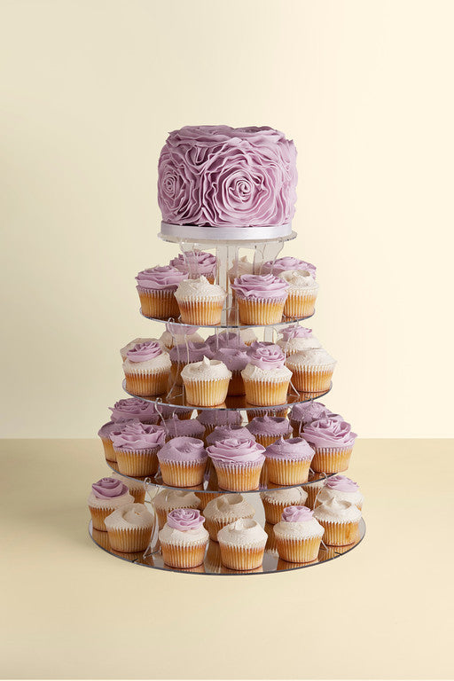 ruffle wedding cake cupcake tower