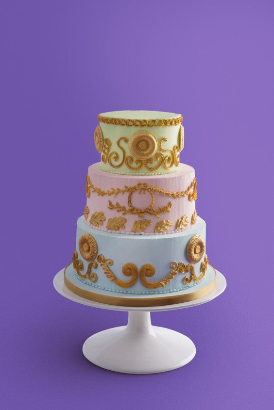 3 tier gold borcade on stand