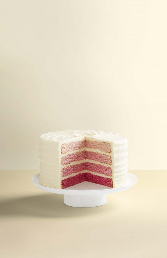 wedding cake pink ombre sliced