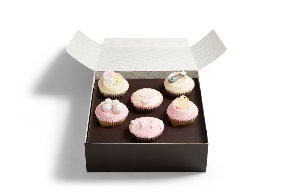 Pink Baby Shower Cupcake Selection Box
