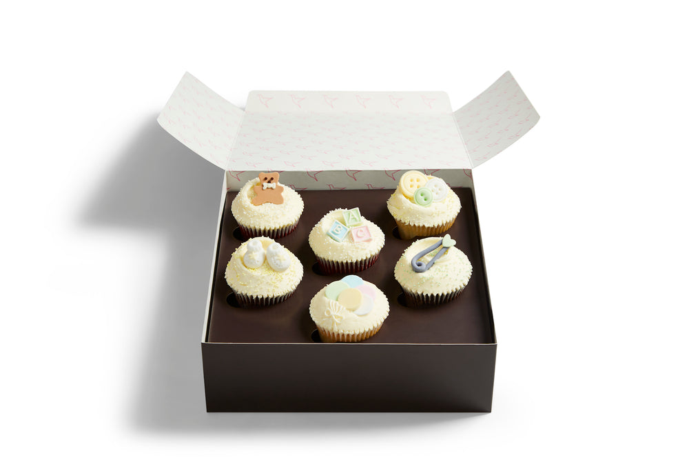 White Baby Shower Cupcake Selection Box
