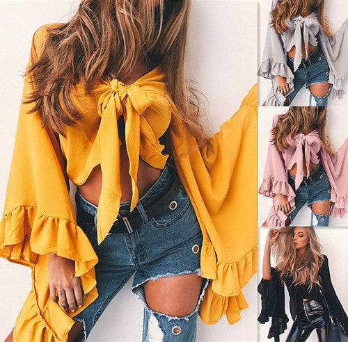 Stylish Solid Crop Blouse with Flare Sleeve