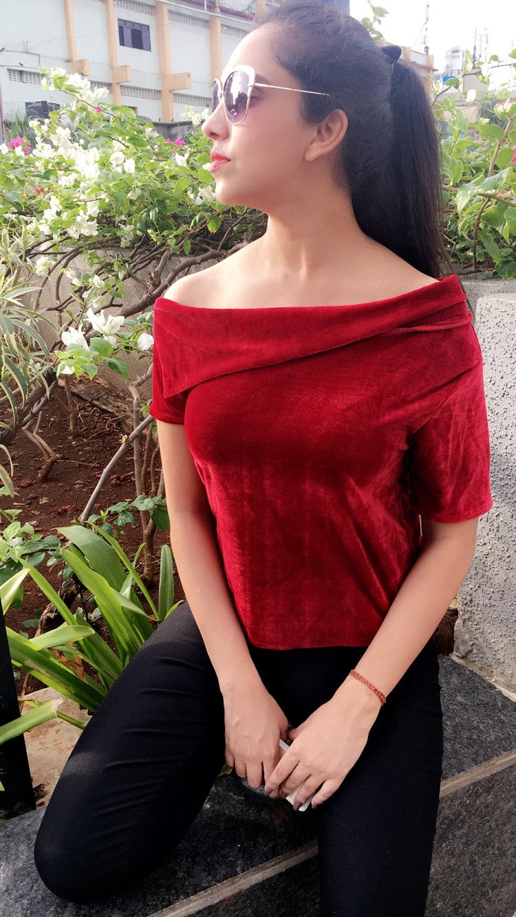Red Velvet Edge One Shoulder Top