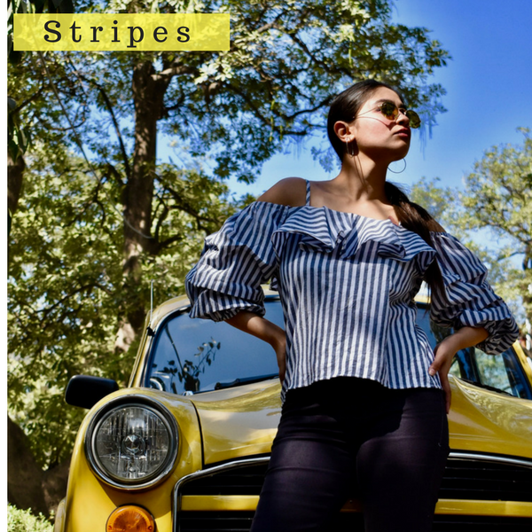 Stripe Cold Shoulder Ruffle Top