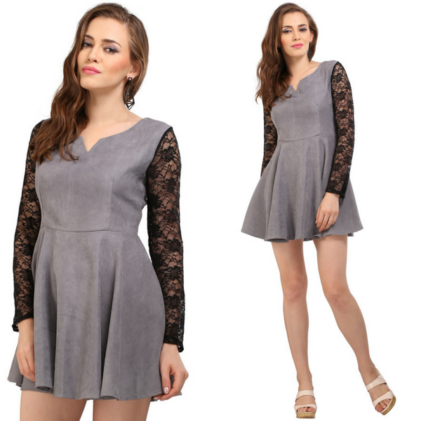 Grey Flair Suede Dress
