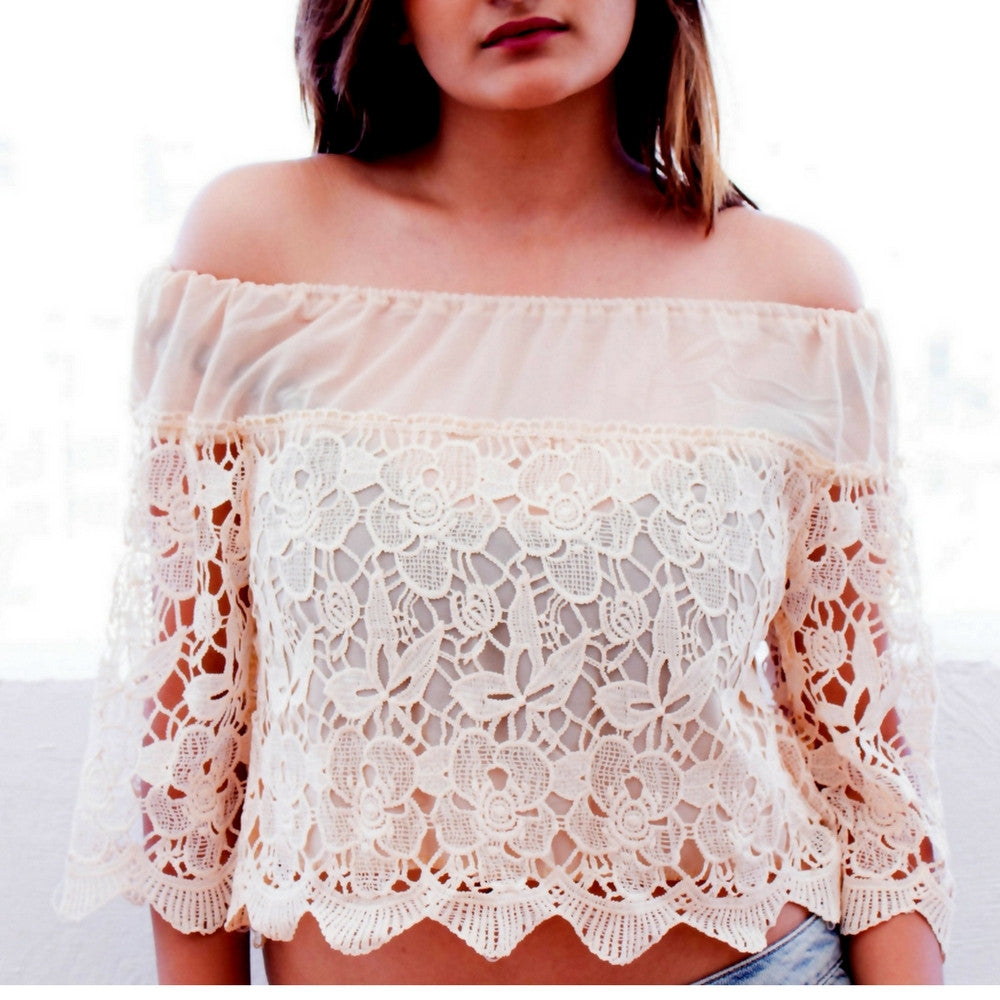 Pretty Lace Off Shoulder Top