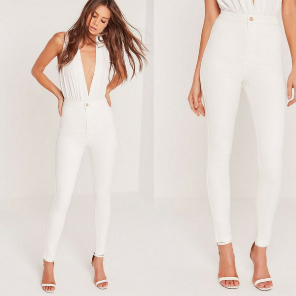 White Skin Fit High Waist Jeans