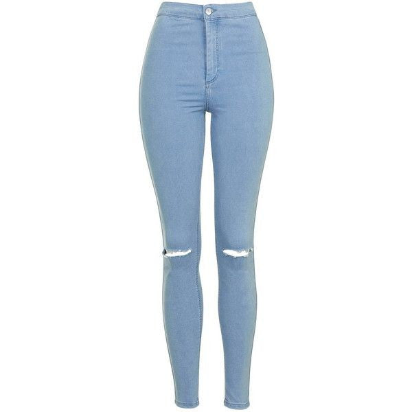 Ripped Baby Blue Skin Fit High Waist Jeans