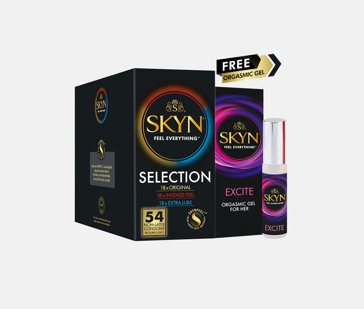 SKYN® SELECTION 54 PACK OF NON LATEX CONDOMS WITH FREE ORGASMIC GEL FOR HER