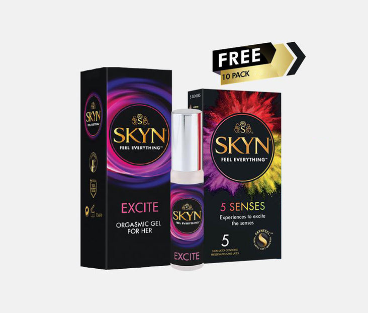SKYN® 15ml Excite Orgasmic Gel for Her + Free 5 Pack of 5 Senses Condoms