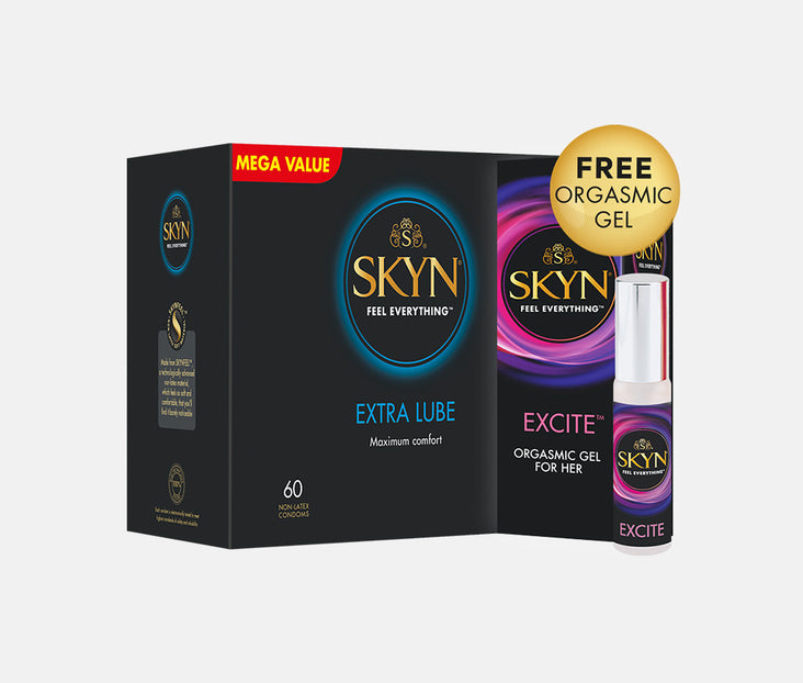 SKYN® Extra Lube 60 pack with FREE Orgasmic Gel for her