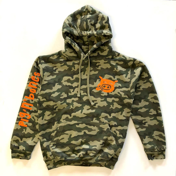 Pig'n'Bones® Pig tongue in cheek Orange Logo - British Camouflage Green Hooded Sweat - Pig Emporium