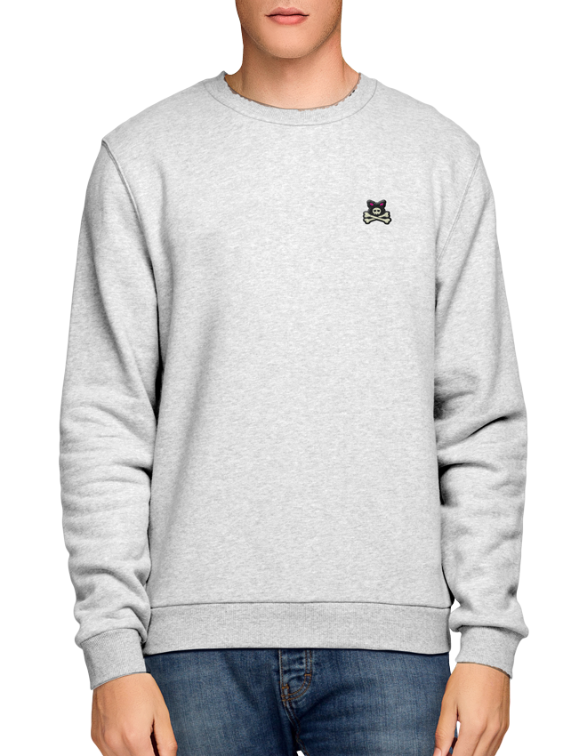 Crossbones Embroidered Chest Logo - Ash Grey Crew Sweat