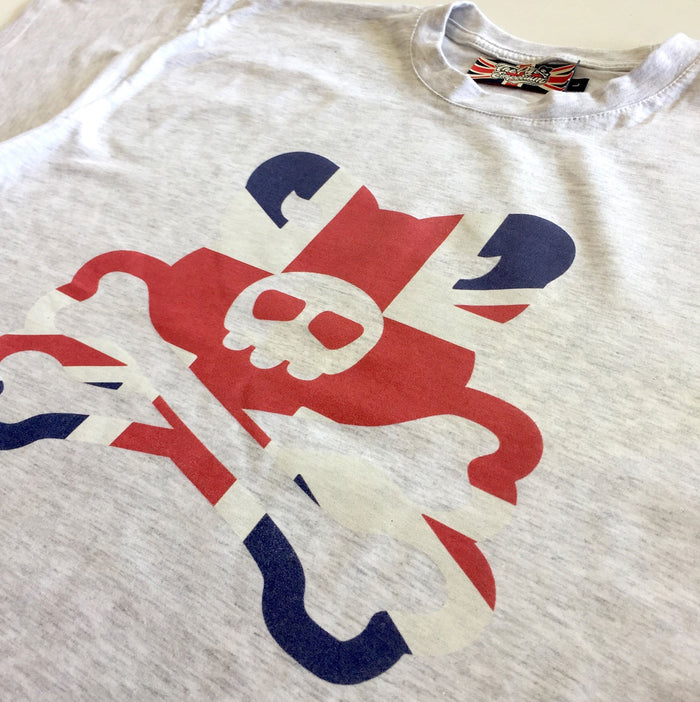 Crossbones Classic Union Flag Logo - Ash Grey T-Shirts