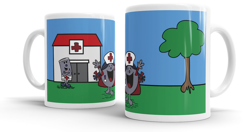 Grey Mafia Scene Mug - Outside Hospital - Pig Emporium