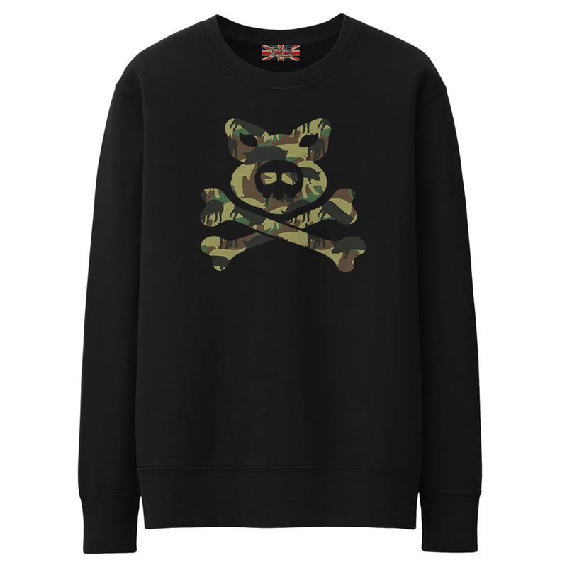 Pig'n'Bones® Pig Camo Crossbones - Black - Crew Sweat